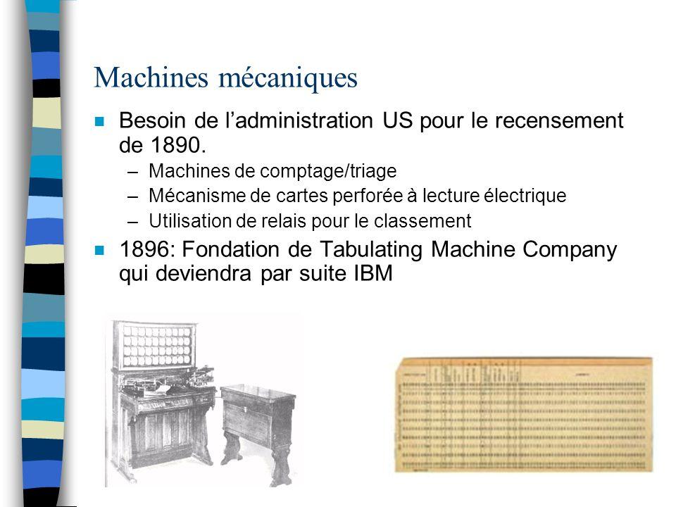 Machines mécaniques n Besoin de ladministration US pour le recensement de 1890. –Machines de comptage/triage –Mécanisme de cartes perforée à lecture é