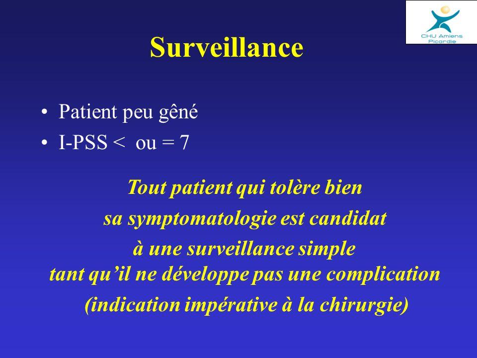 Patient peu gêné I-PSS < ou = 7 Surveillance Tout patient qui tolère bien sa symptomatologie est candidat à une surveillance simple tant quil ne développe pas une complication (indication impérative à la chirurgie)