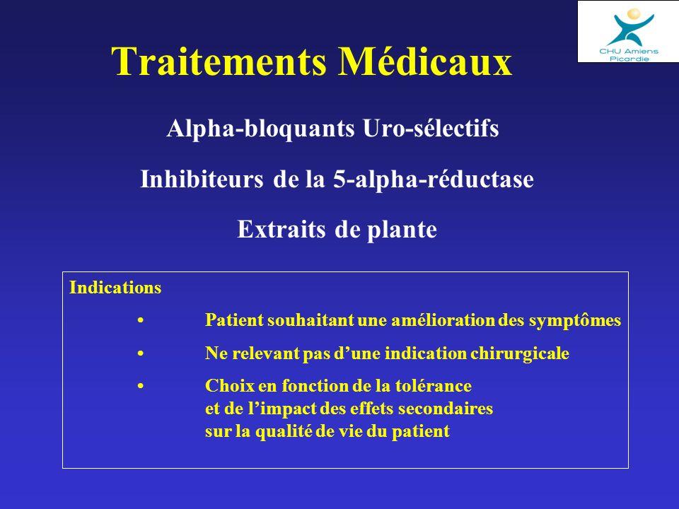 Traitements Médicaux Alpha-bloquants Uro-sélectifs Inhibiteurs de la 5-alpha-réductase Extraits de plante Indications Patient souhaitant une améliorat