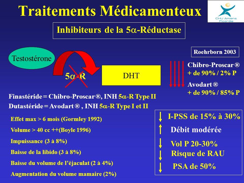 Inhibiteurs de la 5 -Réductase Traitements Médicamenteux Finastéride = Chibro-Proscar ®, INH 5 -R Type II Dutastéride = Avodart ®, INH 5 -R Type I et