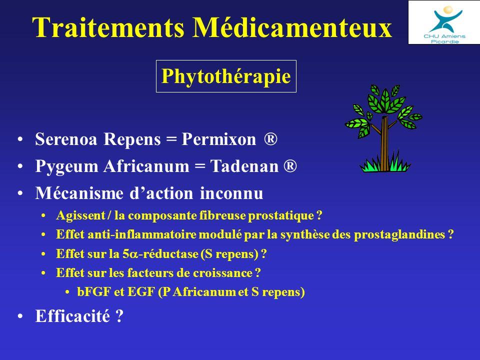 Phytothérapie Traitements Médicamenteux Serenoa Repens = Permixon ® Pygeum Africanum = Tadenan ® Mécanisme daction inconnu Agissent / la composante fibreuse prostatique .