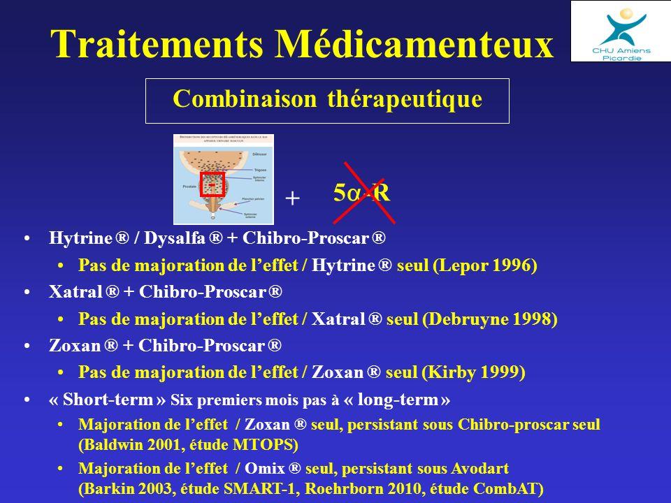 Combinaison thérapeutique Traitements Médicamenteux Hytrine ® / Dysalfa ® + Chibro-Proscar ® Pas de majoration de leffet / Hytrine ® seul (Lepor 1996)