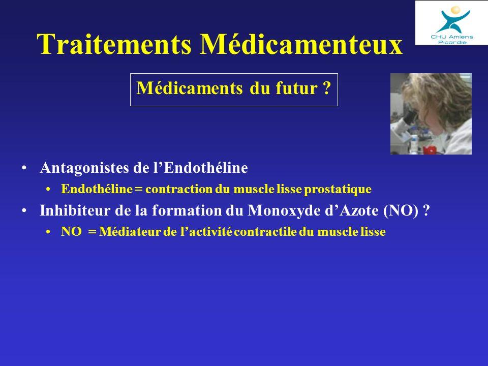 Médicaments du futur ? Traitements Médicamenteux Antagonistes de lEndothéline Endothéline = contraction du muscle lisse prostatique Inhibiteur de la f
