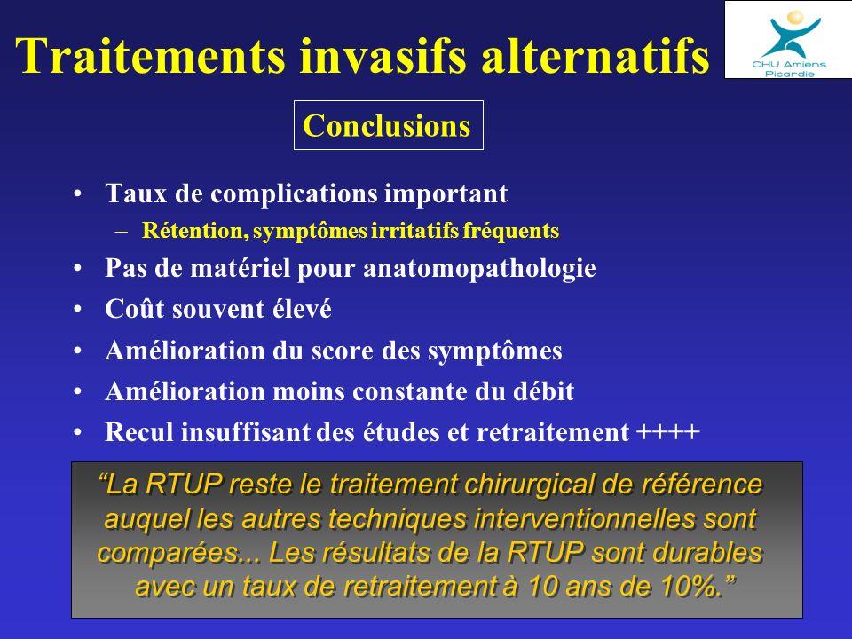 Traitements invasifs alternatifs Taux de complications important –Rétention, symptômes irritatifs fréquents Pas de matériel pour anatomopathologie Coû
