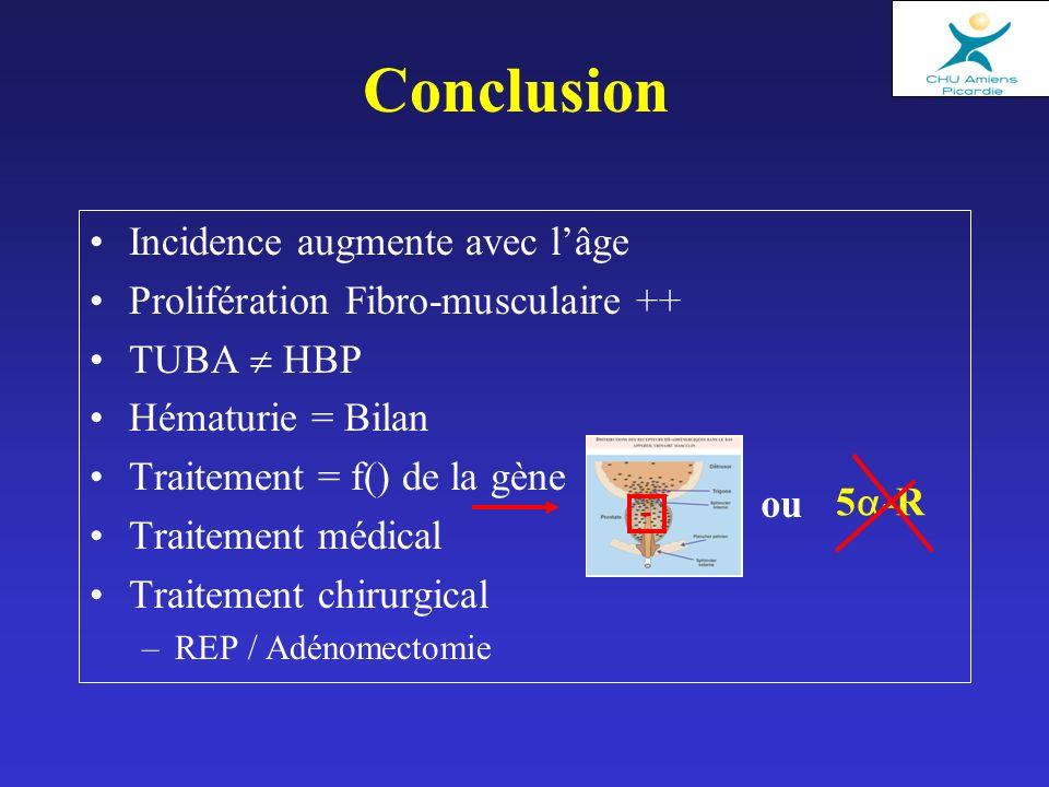 Conclusion Incidence augmente avec lâge Prolifération Fibro-musculaire ++ TUBA HBP Hématurie = Bilan Traitement = f() de la gène Traitement médical Traitement chirurgical –REP / Adénomectomie 5 -R ou -