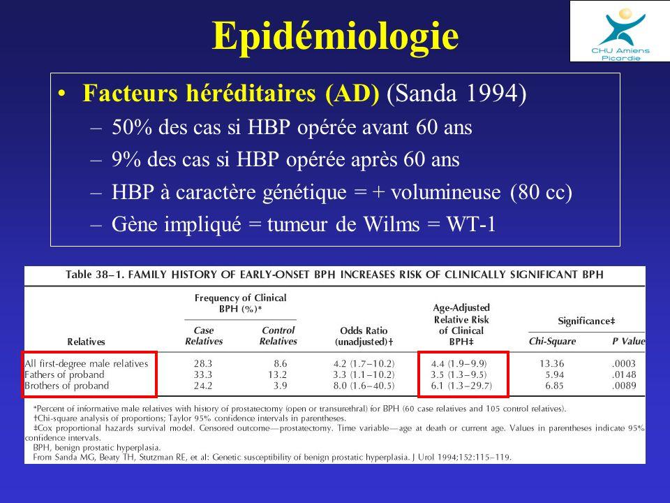 Epidémiologie Facteurs héréditaires (AD) (Sanda 1994) –50% des cas si HBP opérée avant 60 ans –9% des cas si HBP opérée après 60 ans –HBP à caractère génétique = + volumineuse (80 cc) –Gène impliqué = tumeur de Wilms = WT-1
