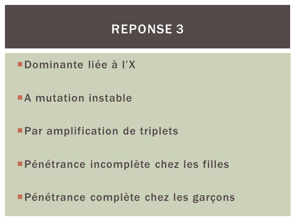 Dominante liée à lX A mutation instable Par amplification de triplets Pénétrance incomplète chez les filles Pénétrance complète chez les garçons REPON