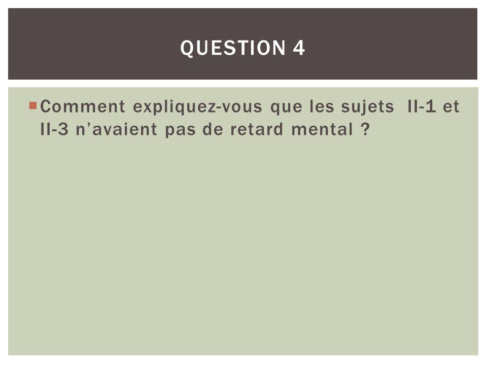 Comment expliquez-vous que les sujets II-1 et II-3 navaient pas de retard mental ? QUESTION 4