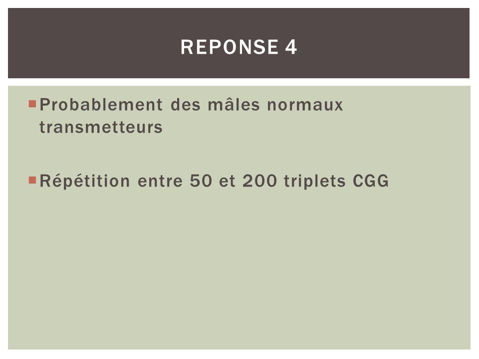 Probablement des mâles normaux transmetteurs Répétition entre 50 et 200 triplets CGG REPONSE 4