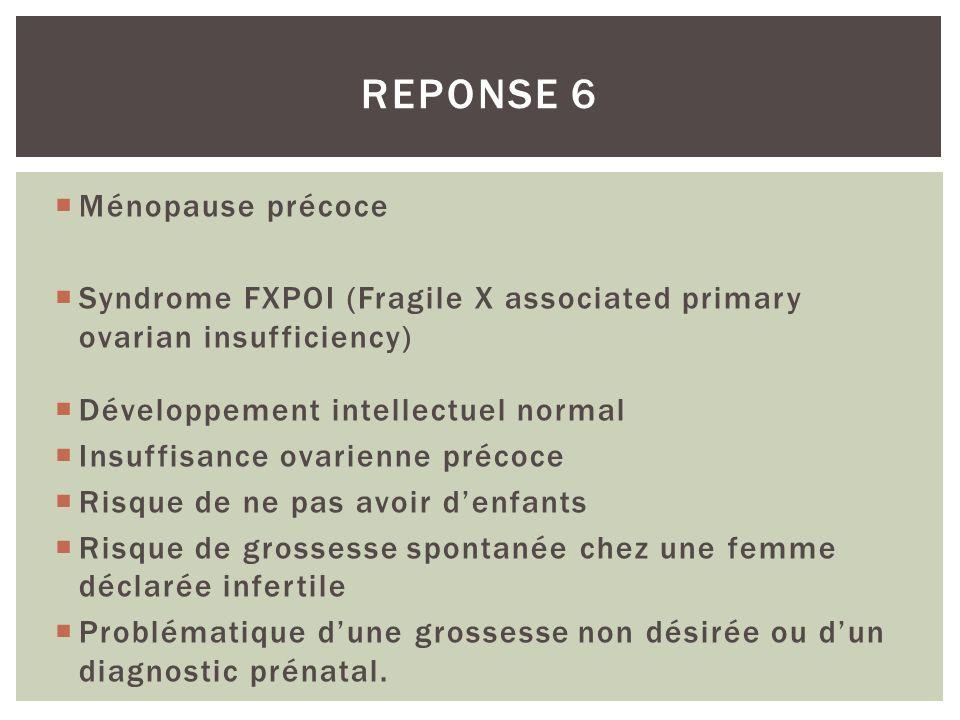 Ménopause précoce Syndrome FXPOI (Fragile X associated primary ovarian insufficiency) Développement intellectuel normal Insuffisance ovarienne précoce