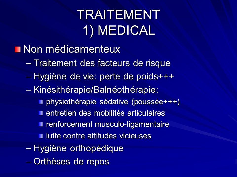 TRAITEMENT 1) MEDICAL Non médicamenteux –Traitement des facteurs de risque –Hygiène de vie: perte de poids+++ –Kinésithérapie/Balnéothérapie: physioth