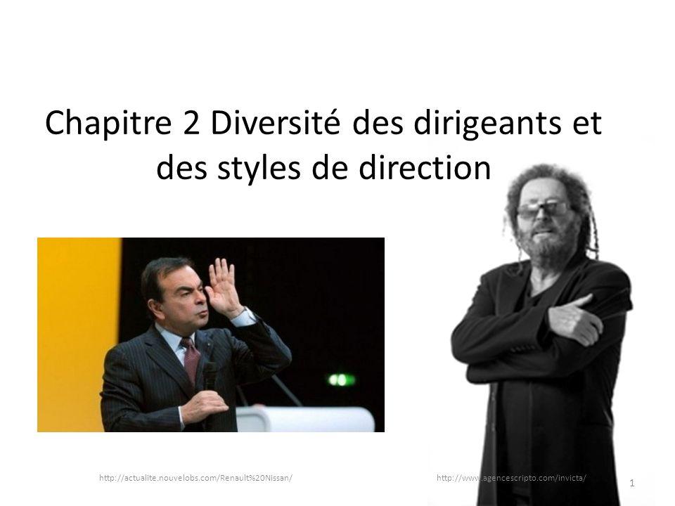 Chapitre 2 Diversité des dirigeants et des styles de direction http://actualite.nouvelobs.com/Renault%20Nissan/ http://www.agencescripto.com/invicta/