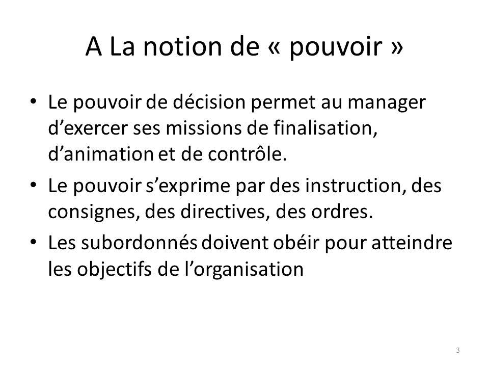 A La notion de « pouvoir » Le pouvoir de décision permet au manager dexercer ses missions de finalisation, danimation et de contrôle. Le pouvoir sexpr
