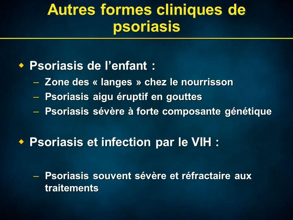 Autres formes cliniques de psoriasis Psoriasis de lenfant : –Zone des « langes » chez le nourrisson –Psoriasis aigu éruptif en gouttes –Psoriasis sévère à forte composante génétique Psoriasis et infection par le VIH : –Psoriasis souvent sévère et réfractaire aux traitements Psoriasis de lenfant : –Zone des « langes » chez le nourrisson –Psoriasis aigu éruptif en gouttes –Psoriasis sévère à forte composante génétique Psoriasis et infection par le VIH : –Psoriasis souvent sévère et réfractaire aux traitements