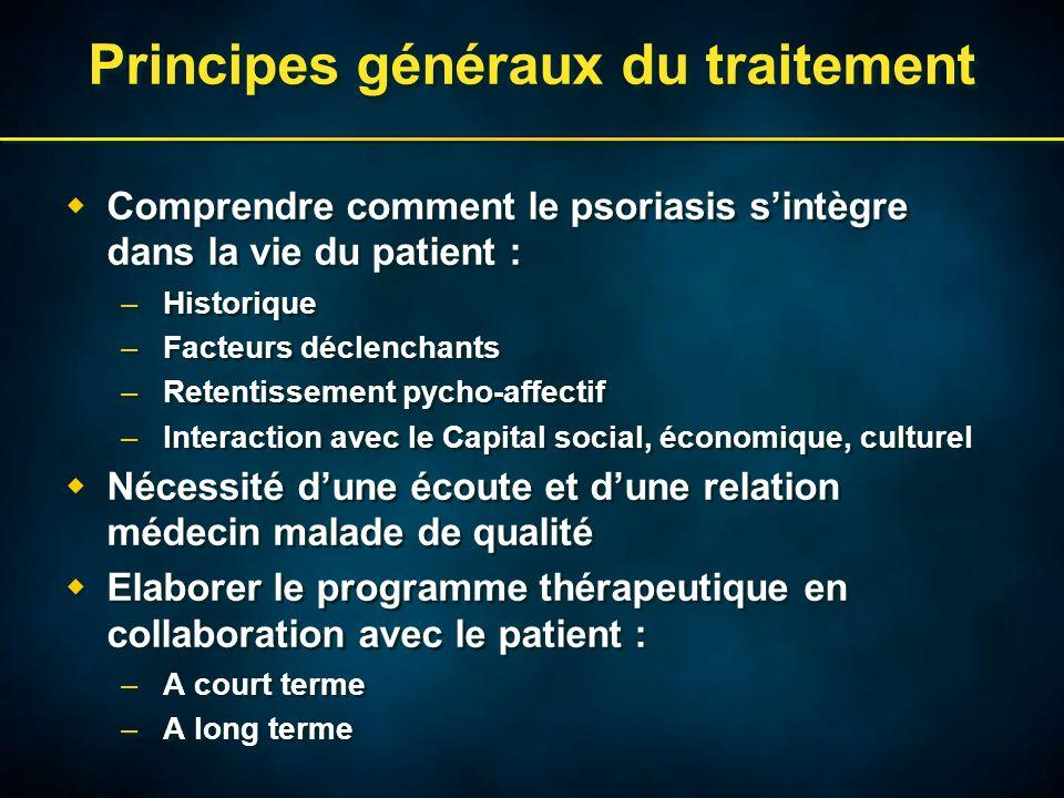 Principes généraux du traitement Comprendre comment le psoriasis sintègre dans la vie du patient : –Historique –Facteurs déclenchants –Retentissement