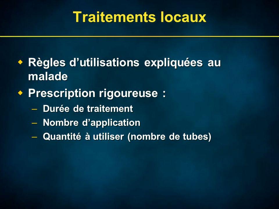 Traitements locaux Règles dutilisations expliquées au malade Prescription rigoureuse : –Durée de traitement –Nombre dapplication –Quantité à utiliser