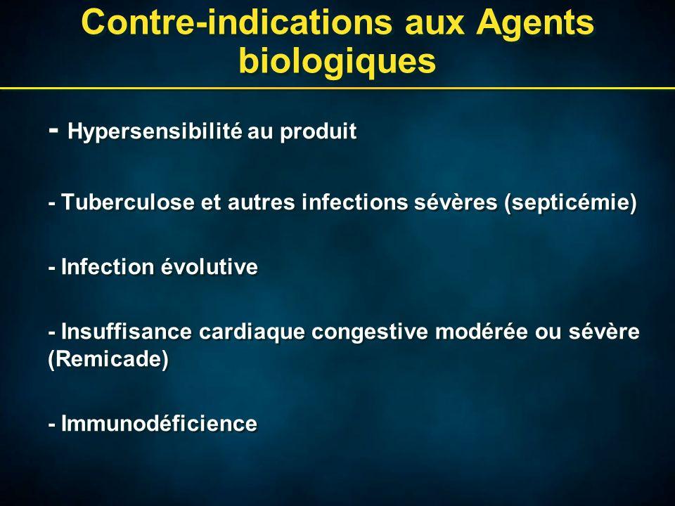 Contre-indications aux Agents biologiques - Hypersensibilité au produit - Tuberculose et autres infections sévères (septicémie) - Infection évolutive - Insuffisance cardiaque congestive modérée ou sévère (Remicade) - Immunodéficience - Hypersensibilité au produit - Tuberculose et autres infections sévères (septicémie) - Infection évolutive - Insuffisance cardiaque congestive modérée ou sévère (Remicade) - Immunodéficience