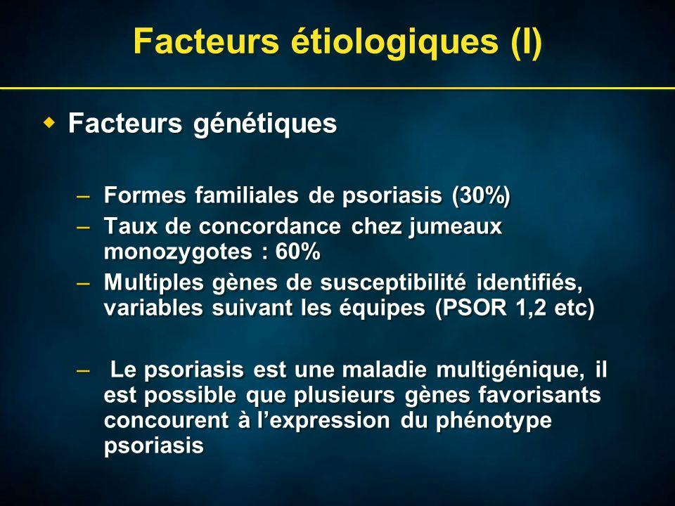 Facteurs étiologiques (I) Facteurs génétiques –Formes familiales de psoriasis (30%) –Taux de concordance chez jumeaux monozygotes : 60% –Multiples gènes de susceptibilité identifiés, variables suivant les équipes (PSOR 1,2 etc) – Le psoriasis est une maladie multigénique, il est possible que plusieurs gènes favorisants concourent à lexpression du phénotype psoriasis Facteurs génétiques –Formes familiales de psoriasis (30%) –Taux de concordance chez jumeaux monozygotes : 60% –Multiples gènes de susceptibilité identifiés, variables suivant les équipes (PSOR 1,2 etc) – Le psoriasis est une maladie multigénique, il est possible que plusieurs gènes favorisants concourent à lexpression du phénotype psoriasis