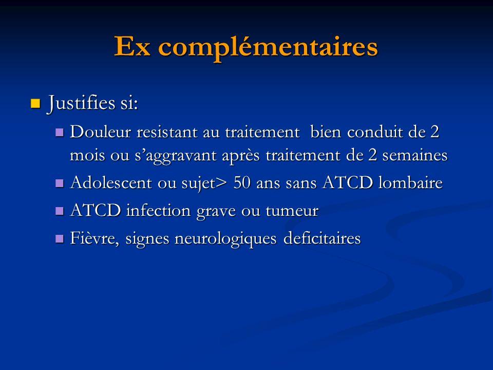 Ex complémentaires Justifies si: Justifies si: Douleur resistant au traitement bien conduit de 2 mois ou saggravant après traitement de 2 semaines Dou
