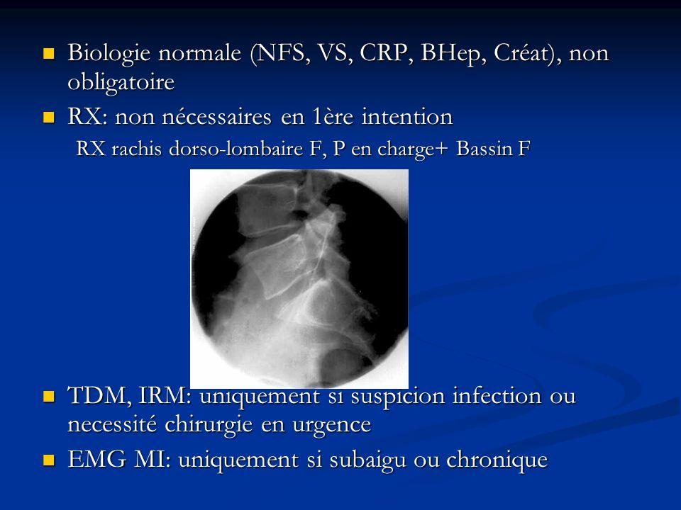 Biologie normale (NFS, VS, CRP, BHep, Créat), non obligatoire Biologie normale (NFS, VS, CRP, BHep, Créat), non obligatoire RX: non nécessaires en 1èr