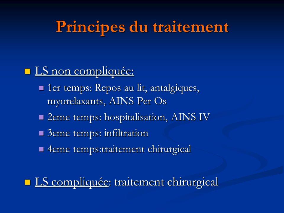 Principes du traitement LS non compliquée: LS non compliquée: 1er temps: Repos au lit, antalgiques, myorelaxants, AINS Per Os 1er temps: Repos au lit,