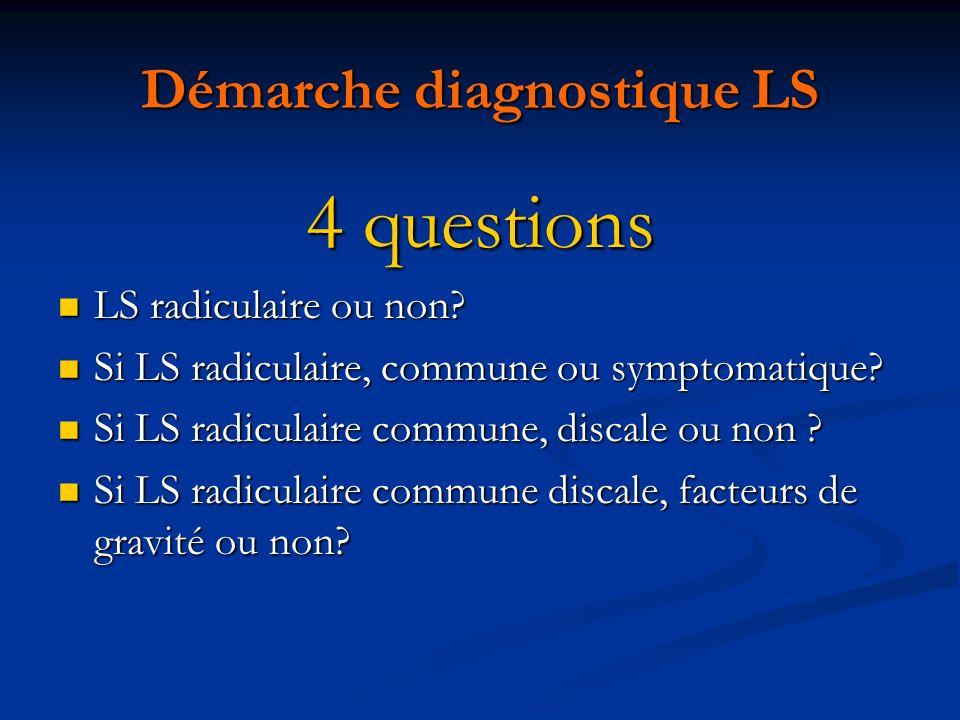 Démarche diagnostique LS 4 questions LS radiculaire ou non? LS radiculaire ou non? Si LS radiculaire, commune ou symptomatique? Si LS radiculaire, com