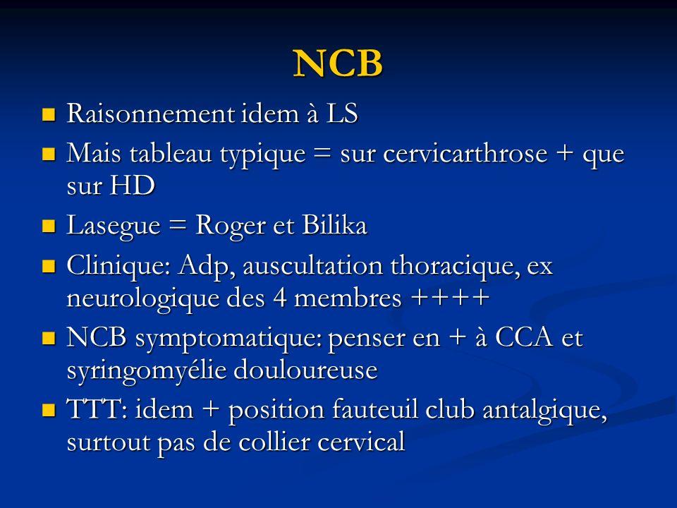 NCB Raisonnement idem à LS Raisonnement idem à LS Mais tableau typique = sur cervicarthrose + que sur HD Mais tableau typique = sur cervicarthrose + q