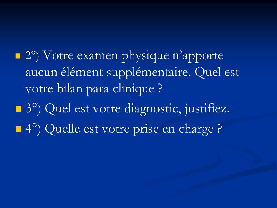 2°) Votre examen physique napporte aucun élément supplémentaire. Quel est votre bilan para clinique ? 3°) Quel est votre diagnostic, justifiez. 4°) Qu