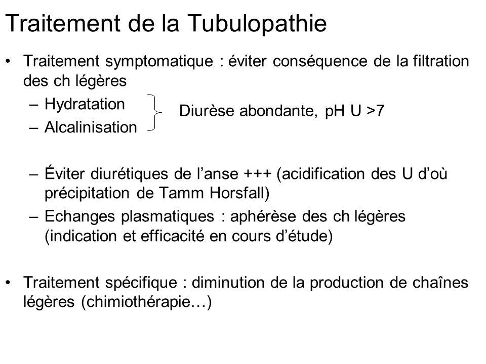 Traitement de la Tubulopathie Traitement symptomatique : éviter conséquence de la filtration des ch légères –Hydratation –Alcalinisation –Éviter diuré