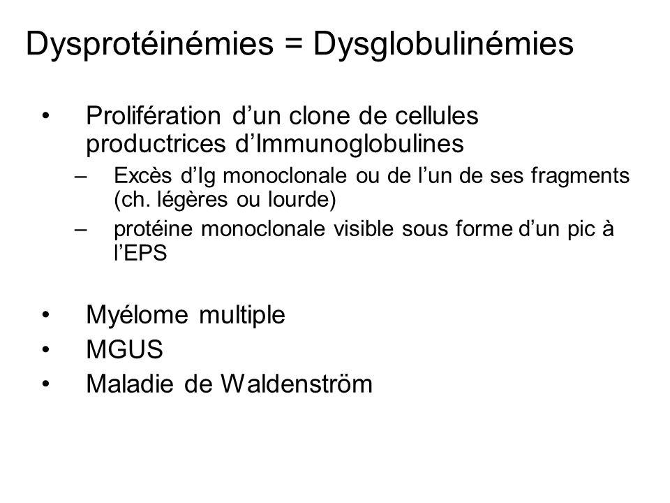 Dysprotéinémies = Dysglobulinémies Prolifération dun clone de cellules productrices dImmunoglobulines –Excès dIg monoclonale ou de lun de ses fragment