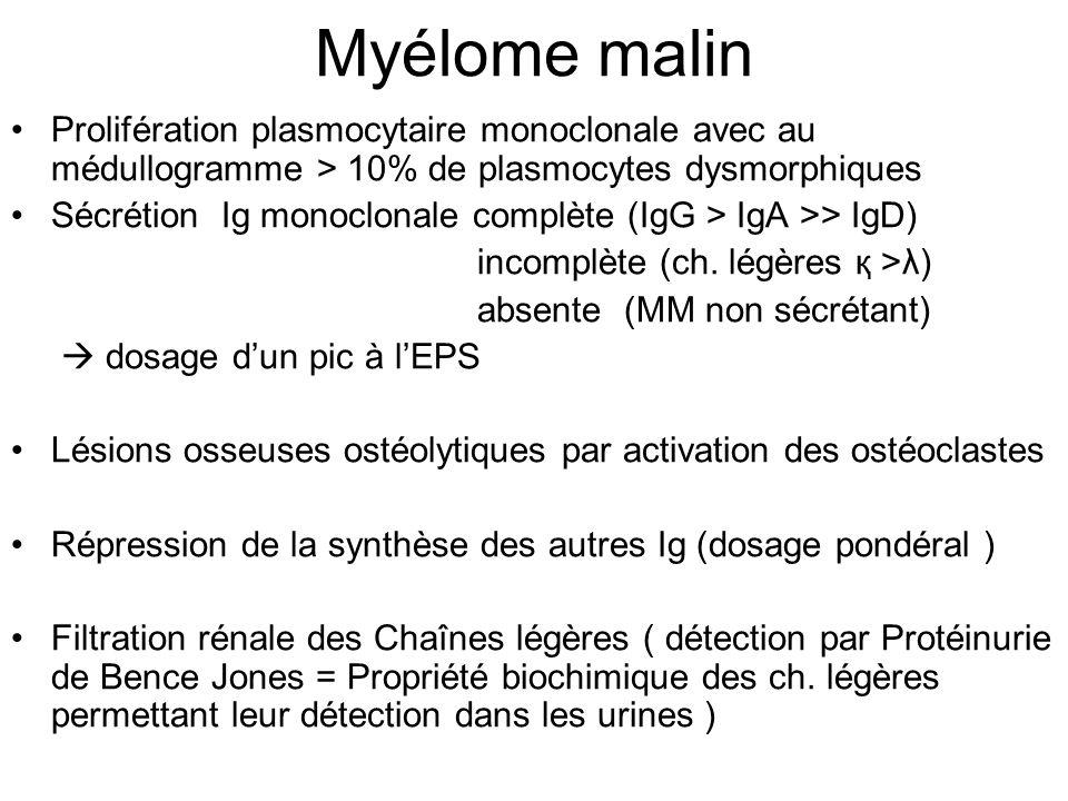 Syndrome de Fanconi Tubulopathie proximale associée au MM Secondaire à réabsorption des ch légères filtrées absence de dégradation lysosomiale = Accumulation intra- cellulaire sous formes de cristaux Entraîne une dysfonction tubulaire proximale ± sévère –Glycosurie normoglycémique –Phosphaturie (csq osseuse = ostéomalacie) –Amino-acidurie –Acidose tubulaire proximale/ bicarbonaturie –Hypokaliémie Peut précéder de x années les autres atteintes du MM Peut aggraver tubulopathie myélomateuse distale en réabsorption ch filtrées