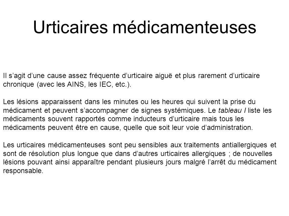 Urticaires médicamenteuses Il sagit dune cause assez fréquente durticaire aiguë et plus rarement durticaire chronique (avec les AINS, les IEC, etc.).