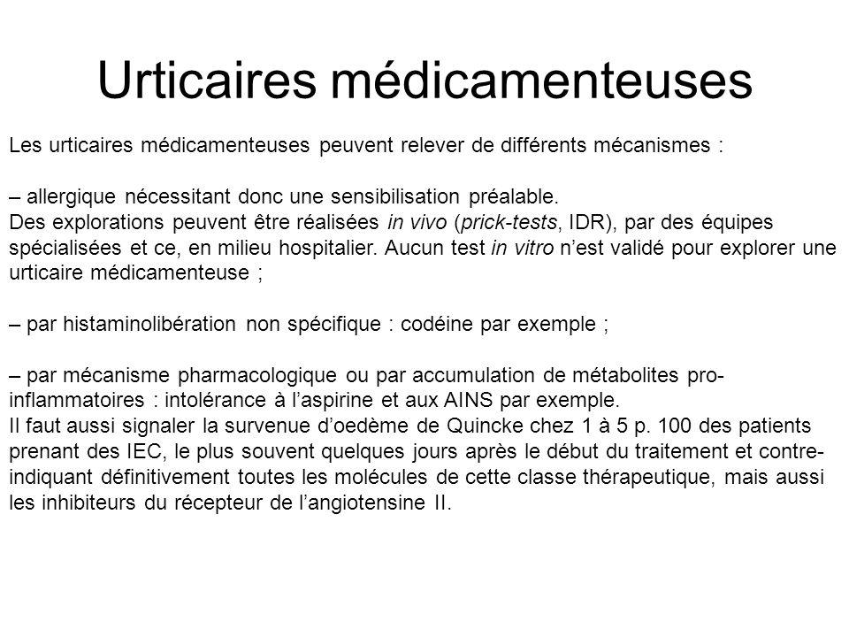 Urticaires médicamenteuses Les urticaires médicamenteuses peuvent relever de différents mécanismes : – allergique nécessitant donc une sensibilisation