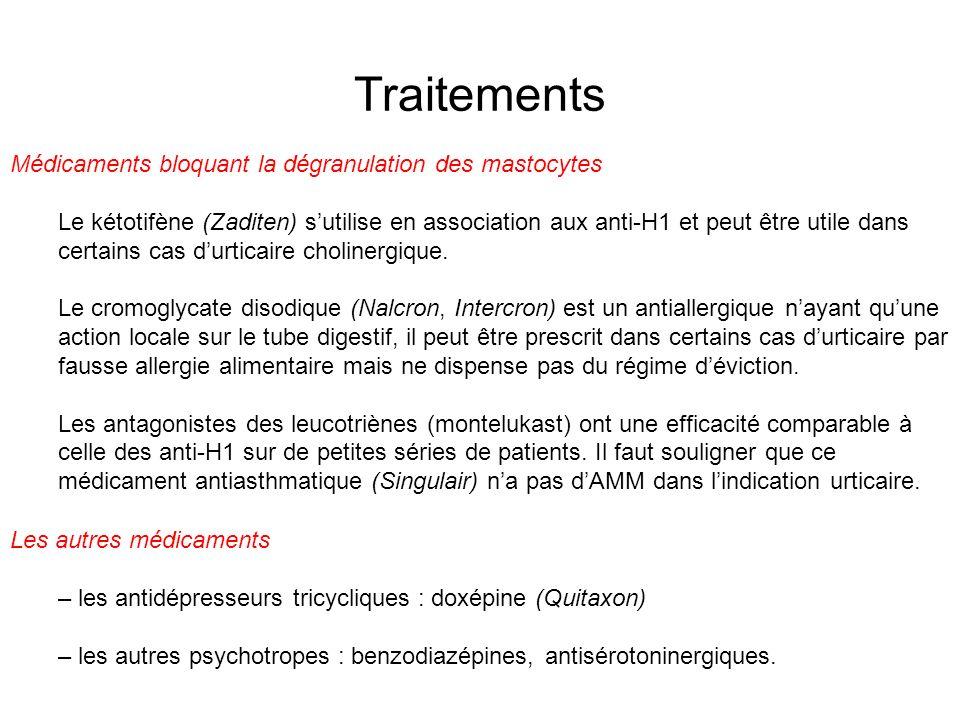 Traitements Médicaments bloquant la dégranulation des mastocytes Le kétotifène (Zaditen) sutilise en association aux anti-H1 et peut être utile dans c