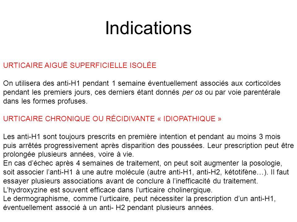 Indications URTICAIRE AIGUË SUPERFICIELLE ISOLÉE On utilisera des anti-H1 pendant 1 semaine éventuellement associés aux corticoïdes pendant les premie