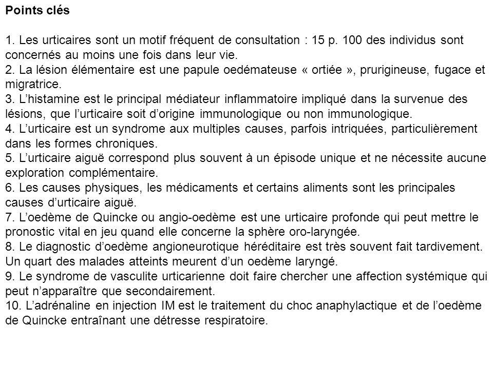 Points clés 1. Les urticaires sont un motif fréquent de consultation : 15 p. 100 des individus sont concernés au moins une fois dans leur vie. 2. La l
