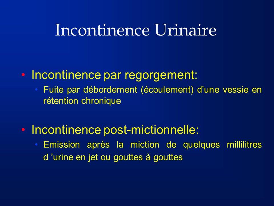 Incontinence Urinaire Incontinence par regorgement: Fuite par débordement (écoulement) dune vessie en rétention chronique Incontinence post-mictionnel