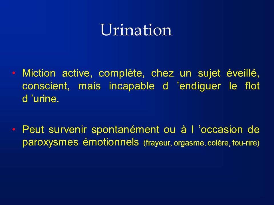 Urination Miction active, complète, chez un sujet éveillé, conscient, mais incapable d endiguer le flot d urine. Peut survenir spontanément ou à l occ