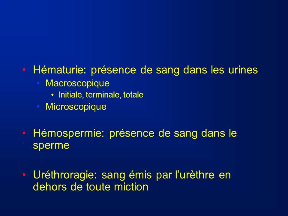Hématurie: présence de sang dans les urines Macroscopique Initiale, terminale, totale Microscopique Hémospermie: présence de sang dans le sperme Uréth