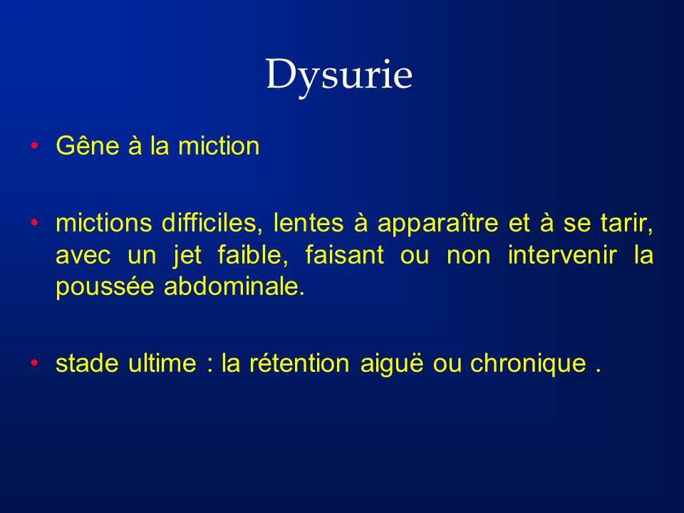 Dysurie Gêne à la miction mictions difficiles, lentes à apparaître et à se tarir, avec un jet faible, faisant ou non intervenir la poussée abdominale.