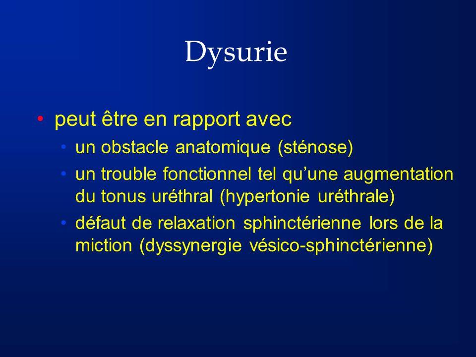 Dysurie peut être en rapport avec un obstacle anatomique (sténose) un trouble fonctionnel tel quune augmentation du tonus uréthral (hypertonie uréthra