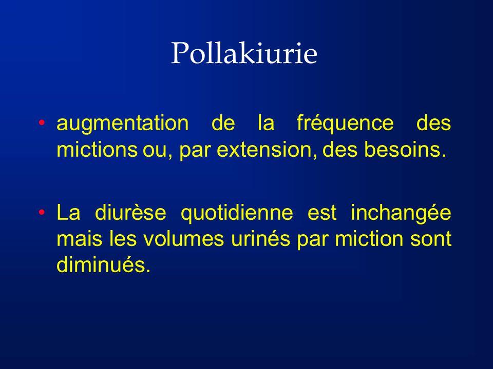 Pollakiurie peut être de deux types : la pollakiurie-symptôme, associée, par exemple, à une affection du système nerveux central ou périphérique la pollakiurie-maladie traduisant lhyperréflectivité vésicale Peut être diurne ou nocturne (nocturie)