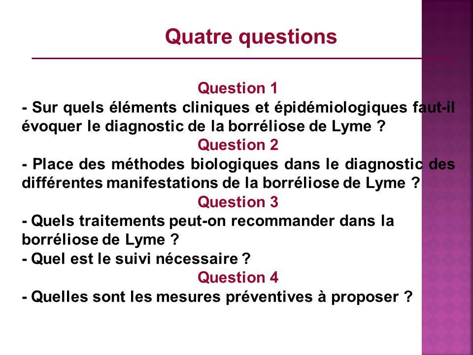 Question 1 - Sur quels éléments cliniques et épidémiologiques faut-il évoquer le diagnostic de la borréliose de Lyme ? Question 2 - Place des méthodes
