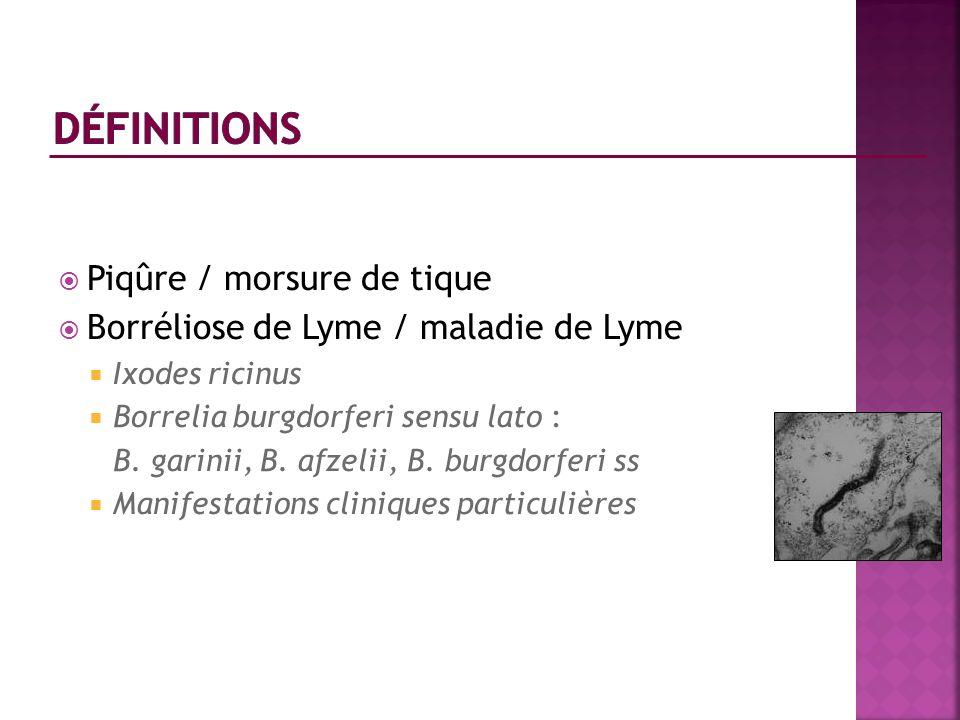 Piqûre / morsure de tique Borréliose de Lyme / maladie de Lyme Ixodes ricinus Borrelia burgdorferi sensu lato : B. garinii, B. afzelii, B. burgdorferi