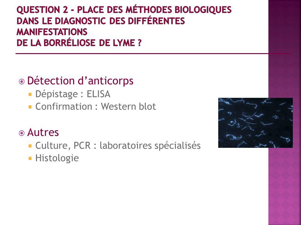Détection danticorps Dépistage : ELISA Confirmation : Western blot Autres Culture, PCR : laboratoires spécialisés Histologie