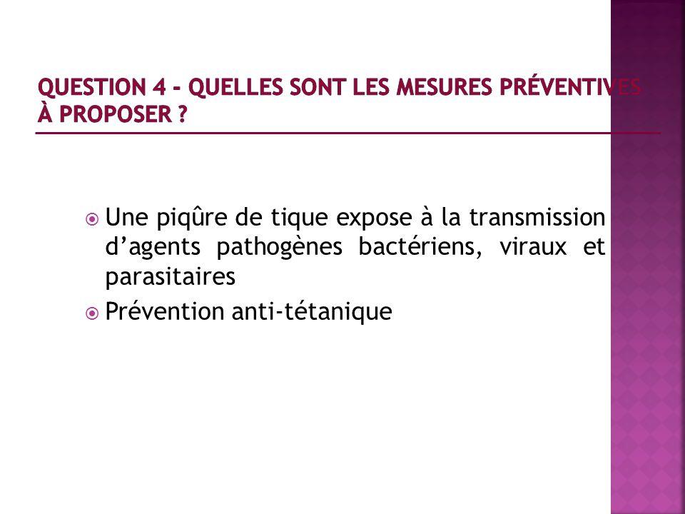 Une piqûre de tique expose à la transmission dagents pathogènes bactériens, viraux et parasitaires Prévention anti-tétanique