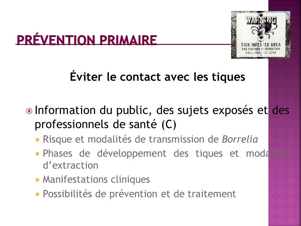 Éviter le contact avec les tiques Information du public, des sujets exposés et des professionnels de santé (C) Risque et modalités de transmission de