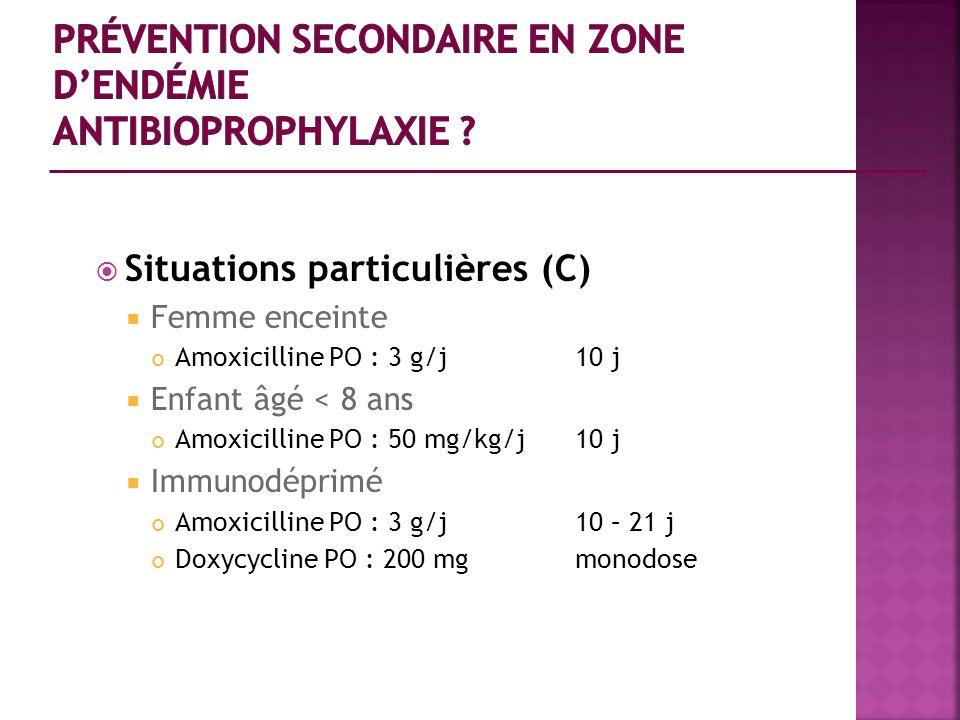 Situations particulières (C) Femme enceinte Amoxicilline PO : 3 g/j 10 j Enfant âgé < 8 ans Amoxicilline PO : 50 mg/kg/j10 j Immunodéprimé Amoxicillin