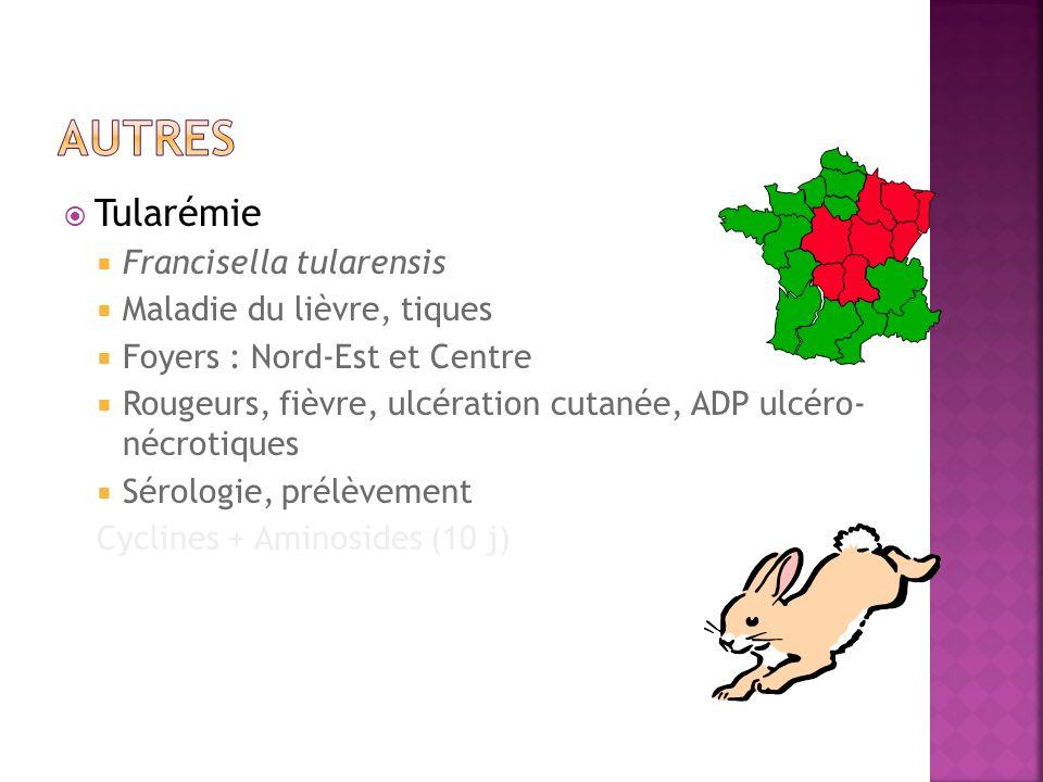Tularémie Francisella tularensis Maladie du lièvre, tiques Foyers : Nord-Est et Centre Rougeurs, fièvre, ulcération cutanée, ADP ulcéro- nécrotiques S