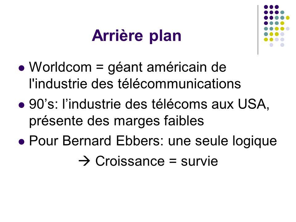 Arrière plan Worldcom = géant américain de l industrie des télécommunications 90s: lindustrie des télécoms aux USA, présente des marges faibles Pour Bernard Ebbers: une seule logique Croissance = survie